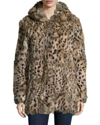Adrienne Landau Rabbit Fur Hooded Coat Leopard