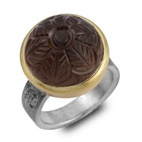 Emma Chapman Jewels Samsara Carved Smokey Topaz Ring Brown