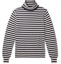 Connolly Riviera Striped Cashmere Rollneck Sweater Navy