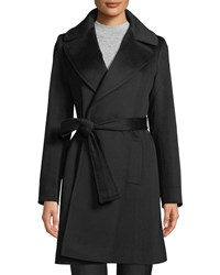 Fleurette Cashmere Self Tie Wrap Coat Black