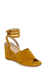 Topshop Women's Whirl Cross Strap Wedge Yellow Leather
