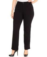 Charter Club Plus Size Tummy Control Straight Leg Jeans Saturated Black Wash Only At Macy's