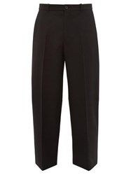 Balenciaga Cropped Wool Tapered Trousers Black