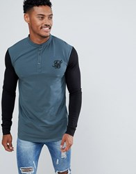 Sik Silk Siksilk Long Sleeve T Shirt In Green With Contrast Sleeves