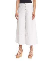 See By Chloe Button Front Cotton Culottes White Lily