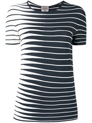Armani Collezioni Striped Knitted Top Blue
