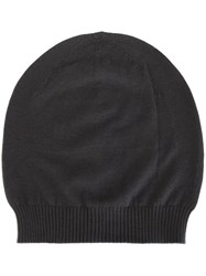 Rick Owens Ribbed Trim Beanie Grey