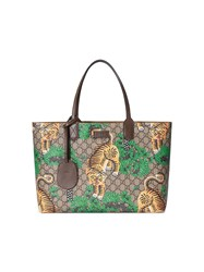 Gucci Bengal Gg Supreme Tote Men Leather Canvas Microfibre One Size Nude Neutrals