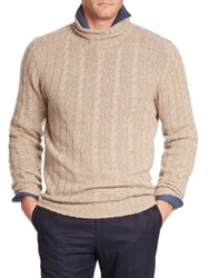 Isaia Turtleneck Cable Knit Cashmere Sweater Light Beige Navy