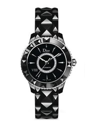 Christian Dior Dior Viii Diamond And Black Ceramic Automatic Bracelet Watch
