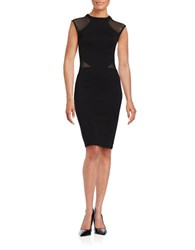 French Connection Cap Sleeved Sheath Dress Black