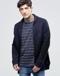 Scotch And Soda Cardigan With Shawl Neck In Navy Navy