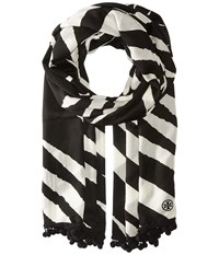 Tory Burch Animal Stripe Oblong Black New Ivory Scarves
