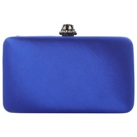 Dune Bridey Satin Match Clutch Bag Blue