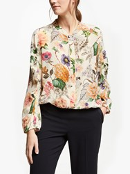Marella Floral Silk Blouse Wool White