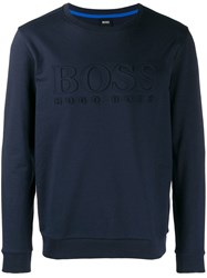 Hugo Boss Logo Embossed Sweatshirt Blue