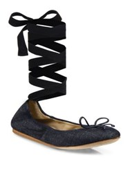 Saks Fifth Avenue Beau Denim Ankle Wrap Ballet Flats