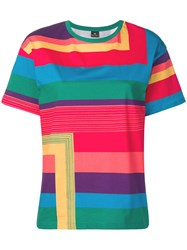 Paul Smith Ps Striped Oversized T Shirt Red