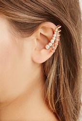 Forever 21 Rhinestone Ear Cuff Set Gold Cream