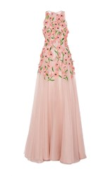 Lela Rose Floral Embroidered Gown Nude
