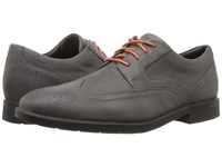 Rockport Dressports Business Wing Tip Castlerock Grey Suede Men's Shoes Black