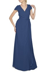 Women's Ceremony By Joanna August 'Aurele' Cap Sleeve Chiffon Wrap Gown Tangled Up In Blue