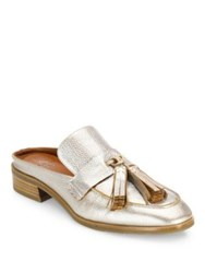 Aquatalia By Marvin K Stella Metallic Leather Flat Mules