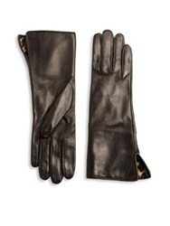 Saks Fifth Avenue Silk Lined Leather Gloves Brown