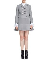 Alexander Mcqueen Double Breasted Houndstooth Coat Black White Black White