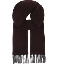 Aspinal Of London Reversible Merino Wool And Cashmere Scarf Burgundy