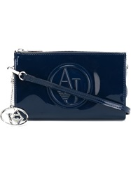 Armani Jeans Embossed Logo Clutch Blue