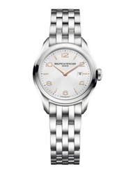 Baume And Mercier Clifton Stainless Steel Bracelet Watch Silver Rose Gold