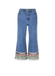Alice Olivia 'Beta' Zigzag Stripe Embroidered Cropped Wide Leg Jeans Blue