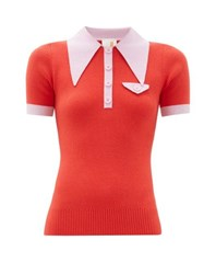 Joostricot Exaggerated Point Collar Cotton Blend Polo Shirt Red