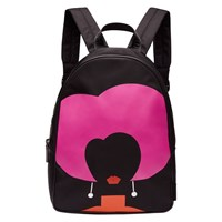 Lulu Guinness Heart Face Backpack Black Multi