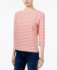 Tommy Hilfiger Striped Boat Neck Top Only At Macy's Flamingo Ivory