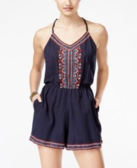 Angie Juniors' Embroidered Spaghetti Strap Romper Medium Blue