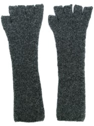 Isabel Benenato Fingerless Gloves Grey