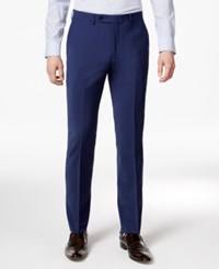 Bar Iii Skinny Fit Stretch Wrinkle Resistant Blue Suit Pants Blue Solid