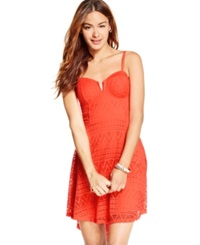 Material Girl Juniors' Lace Overlay High Low Dress Hot Coral