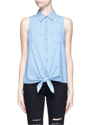 Equipment 'Mina Tie Front' Sleeveless Chambray Shirt Blue