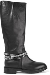 Moschino Embellished Leather Boots Black