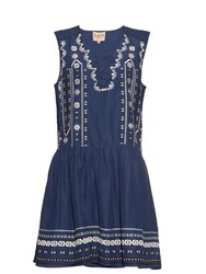 Sea Embroidered Silk And Linen Blend Dress