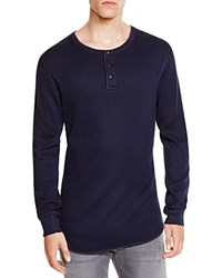 Reigning Champ Thermal Knit Henley Navy