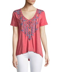 Johnny Was Sonoma Embroidered Everyday Tee Plus Size Red Velvet