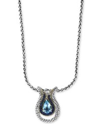Effy Final Call By Blue Topaz 3 1 4 Ct. T.W. And Sapphire 1 4 Ct. T.W. Pendant Necklace In Sterling Silver And 18K Gold Silver Gold
