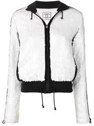 Chanel Vintage Sequin Embroidered Jacket White