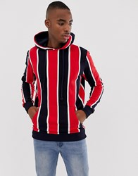 Pull And Bear Pullandbear Hoodie In Red Stripe