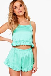Boohoo Ariana Satin Lettuce Hem Cami And Short Pajamas Samphire Green