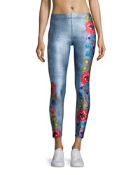 Terez Floral Embroidery Performance Leggings Multi Pattern